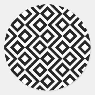 Black and White Meander Classic Round Sticker