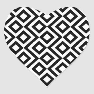 Black and White Meander Heart Sticker