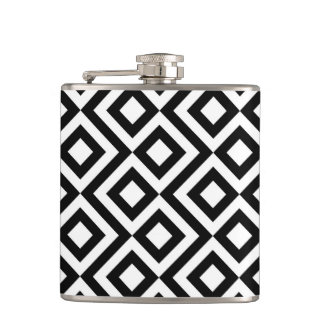 Black and White Meander Hip Flask