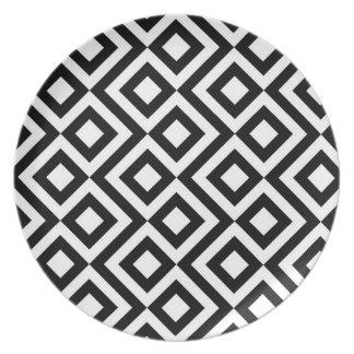 Black and White Meander Melamine Plate