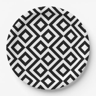 Black and White Meander Paper Plate