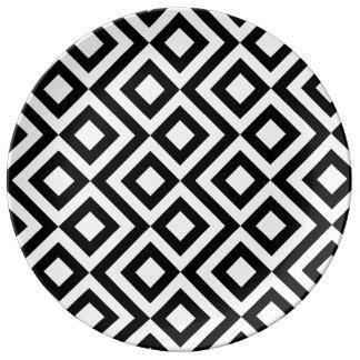 Black and White Meander Porcelain Plate