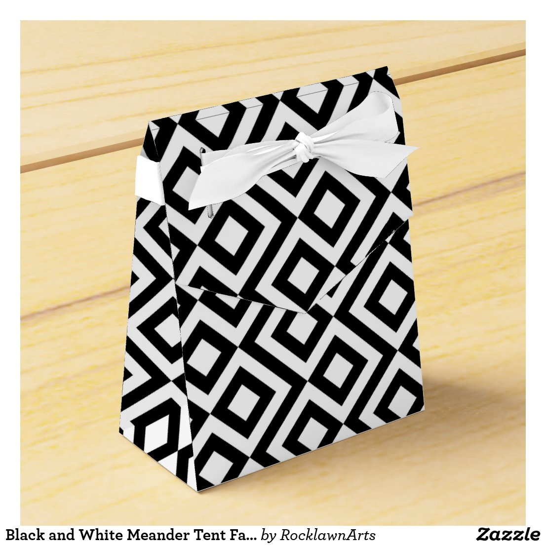 Black and White Meander Tent Favor Box