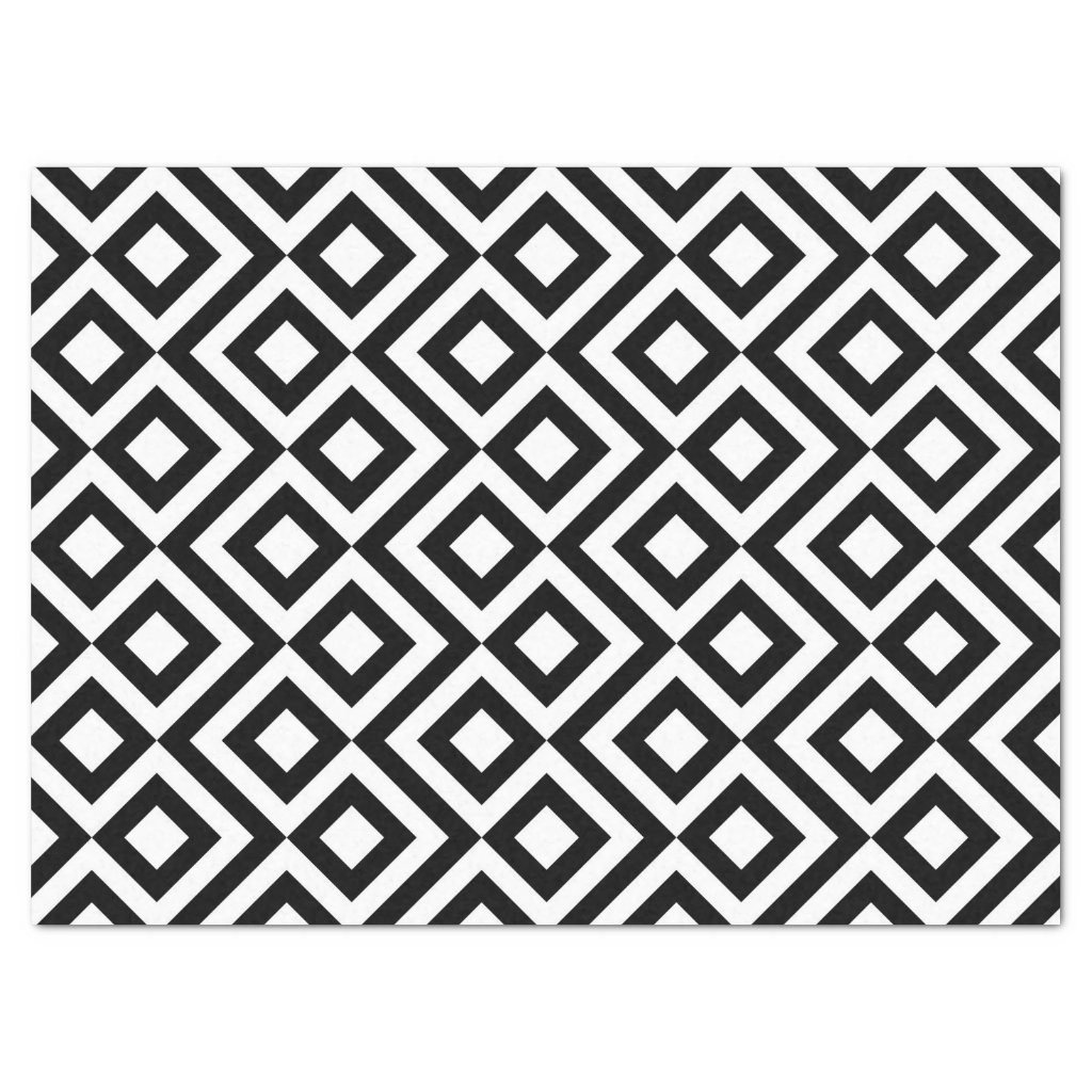 Black and White Meander Tissue Paper