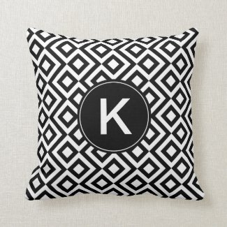 Black and White Meander with Custom Monogram Throw Pillow