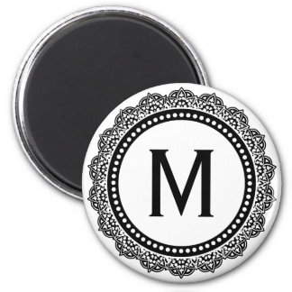 Black And White Medallion Custom Initial 2 Inch Round Magnet
