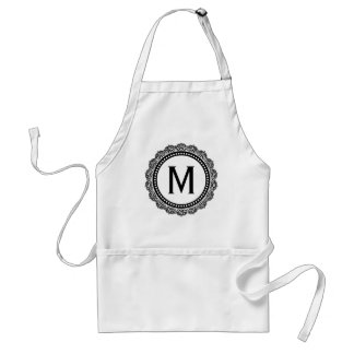 Black And White Medallion Custom Initial Adult Apron