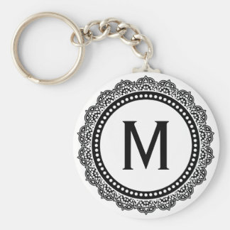 Black And White Medallion Custom Initial Keychain