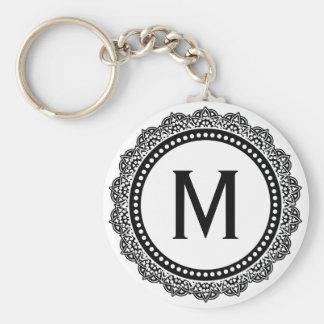 Black And White Medallion Custom Initial Keychain
