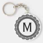 Black And White Medallion Custom Initial Keychains
