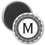 Black And White Medallion Custom Initial Magnets