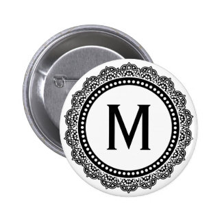 Black And White Medallion Custom Initial Pinback Button