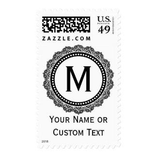 Black And White Medallion Custom Initial Postage Stamp