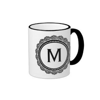 Black And White Medallion Custom Initial Ringer Coffee Mug