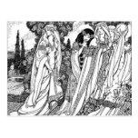 Black And White Medieval Fashions Postcard