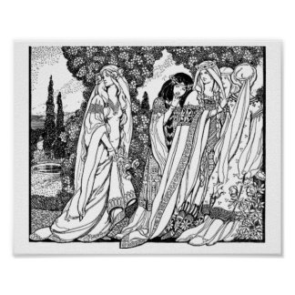 Black And White Medieval Fashions Poster