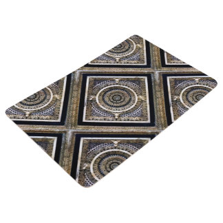 Black and White Medieval Sculpted Marble Pattern Floor Mat