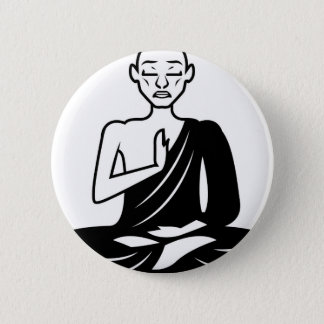 Black and White Meditating Monk Pinback Button