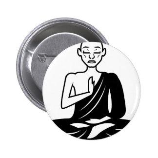 Black and White Meditating Monk Pinback Button