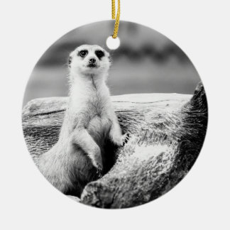 Black and White Meerkat On A Tree Ceramic Ornament