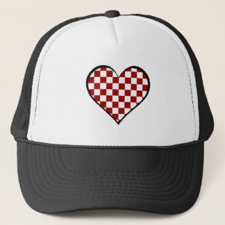 Black and white meets red version 25 trucker hat
