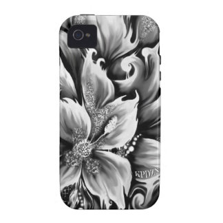 Black and white melting floral with glitter accent vibe iPhone 4 cover