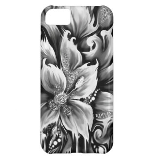 Black and white melting floral with glitter accent iPhone 5C case