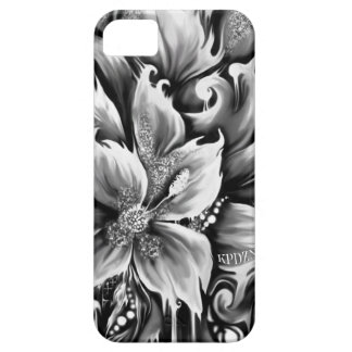 Black and white melting floral with glitter accent iPhone 5 cover