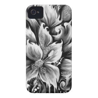 Black and white melting floral with glitter accent iPhone 4 covers