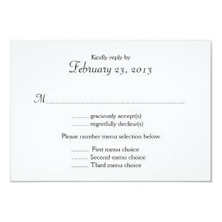 Black and White Menu List Wedding Reply Card