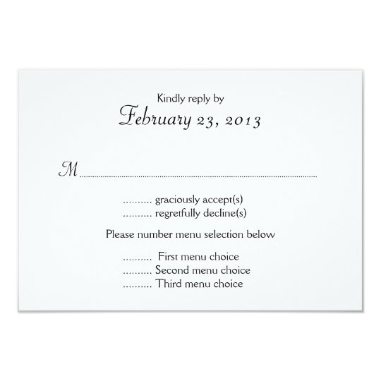 Black and white menu list wedding reply card zazzle black and white menu list wedding reply card stopboris Choice Image