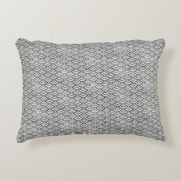 Beach Themed Black and White Mermaid Pastel Pattern Accent Pillow