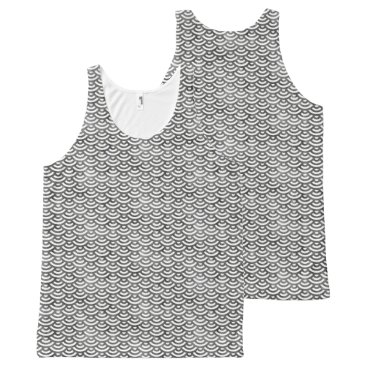 Beach Themed Black and White Mermaid Pastel Pattern All-Over-Print Tank Top