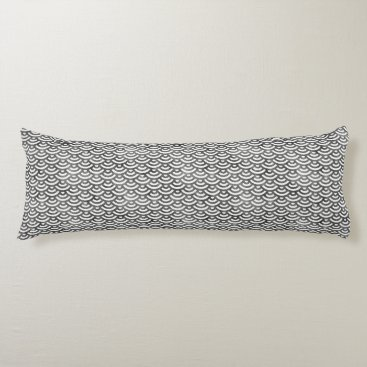 Beach Themed Black and White Mermaid Pastel Pattern Body Pillow
