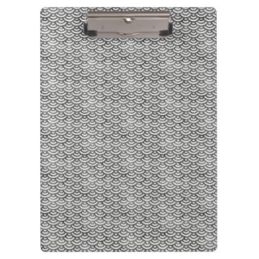 Beach Themed Black and White Mermaid Pastel Pattern Clipboard