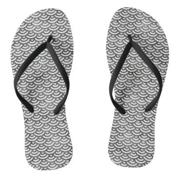 Beach Themed Black and White Mermaid Pastel Pattern Flip Flops