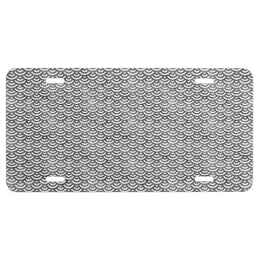Beach Themed Black and White Mermaid Pastel Pattern License Plate