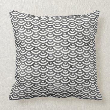 Beach Themed Black and White Mermaid Pastel Pattern Throw Pillow