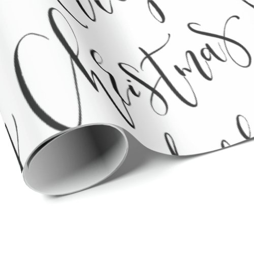 Black And White Merry Christmas Calligraphy Wrapping Paper