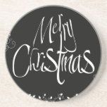 Black and White Merry Christmas Drink Coaster