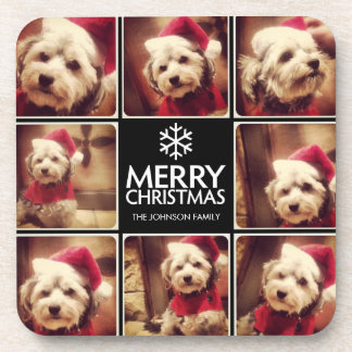Black and White Merry Christmas Photo Collage Beverage Coaster