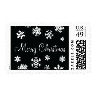 Black and White Merry Christmas Snowflakes Postage