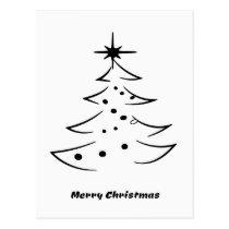 Black and White Merry Christmas Tree with Star Postcard