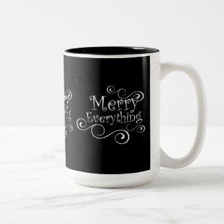 Black and White Merry Everything Holiday Mug