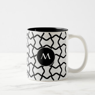 Black and white mesh pattern Two-Tone coffee mug