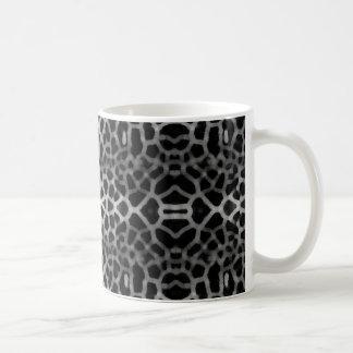 Black and white mesh pattern classic white coffee mug