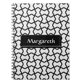 Black and white mesh pattern notebook