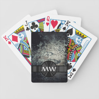 Black and white metallic rust bicycle playing cards