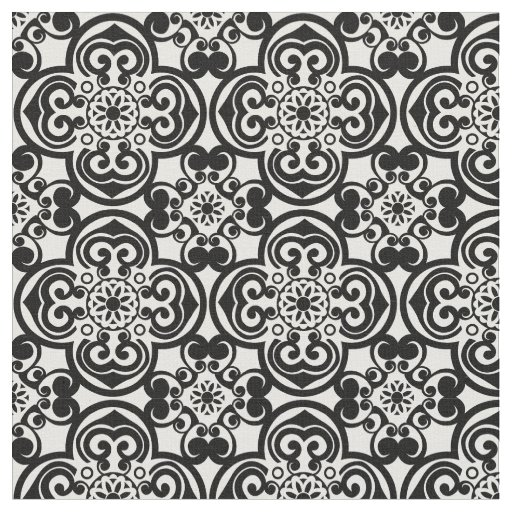Black And White Mexican Tile Pattern Fabric