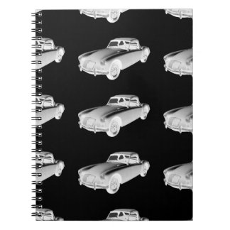 Black and White MG Convertible Sports Car Spiral Notebook